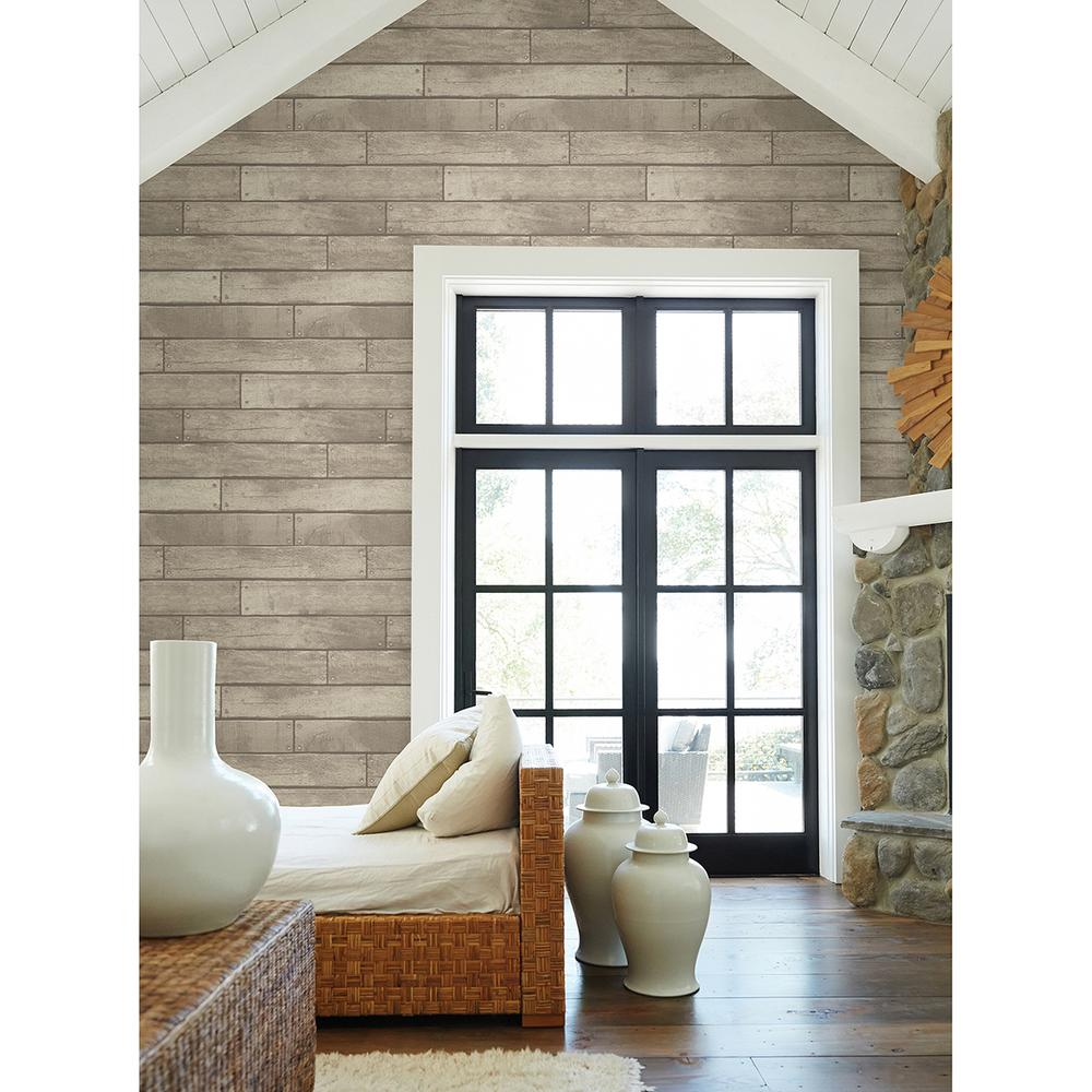 Brewster Weathered Grey Nailhead Plank Wallpaper Fd23276 The Home Depot