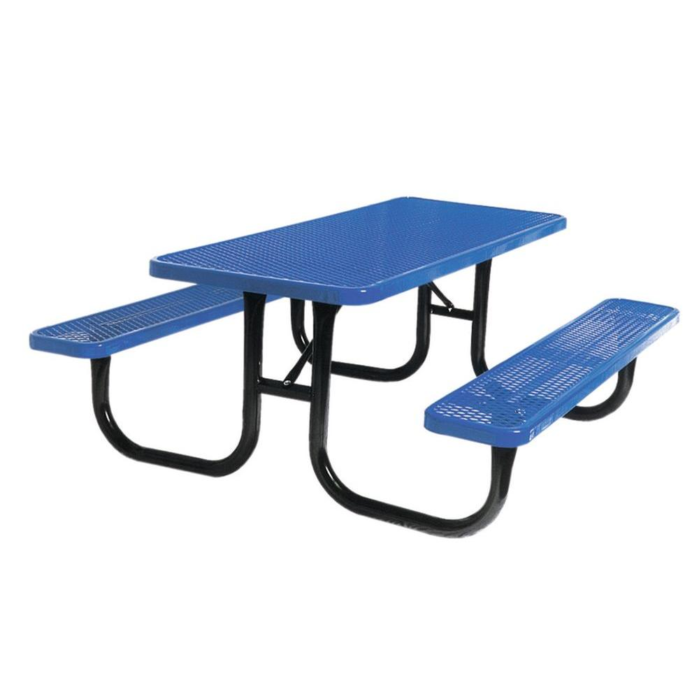 Ultra Play 8 ft. Diamond Blue Commercial Park Portable Rectangular Table
