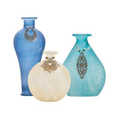 Skylar 10 in., 8 in. and 5 in. Glass Decorative Vases in Azure, Ivory and Marinas