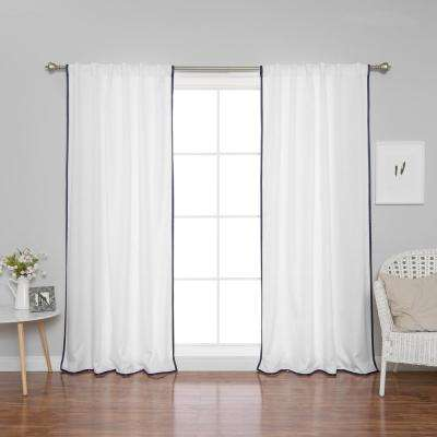 84 in. L Polyester Oxford Thin Navy Border Curtains in White (2-Pack)