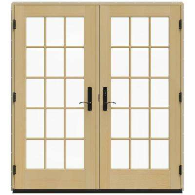 72 in. x 80 in. W-4500 Desert Sand Clad Wood Left-Hand 15 Lite French Patio Door w/Unfinished Interior