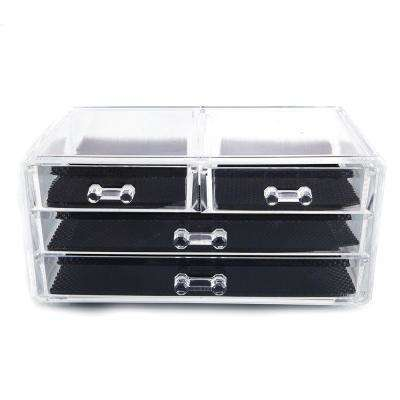 6 in. x 4 in. SF-1005-2 Transparent Plastic Cosmetics Storage Rack 2-Small Drawer and 2-Larger Drawer