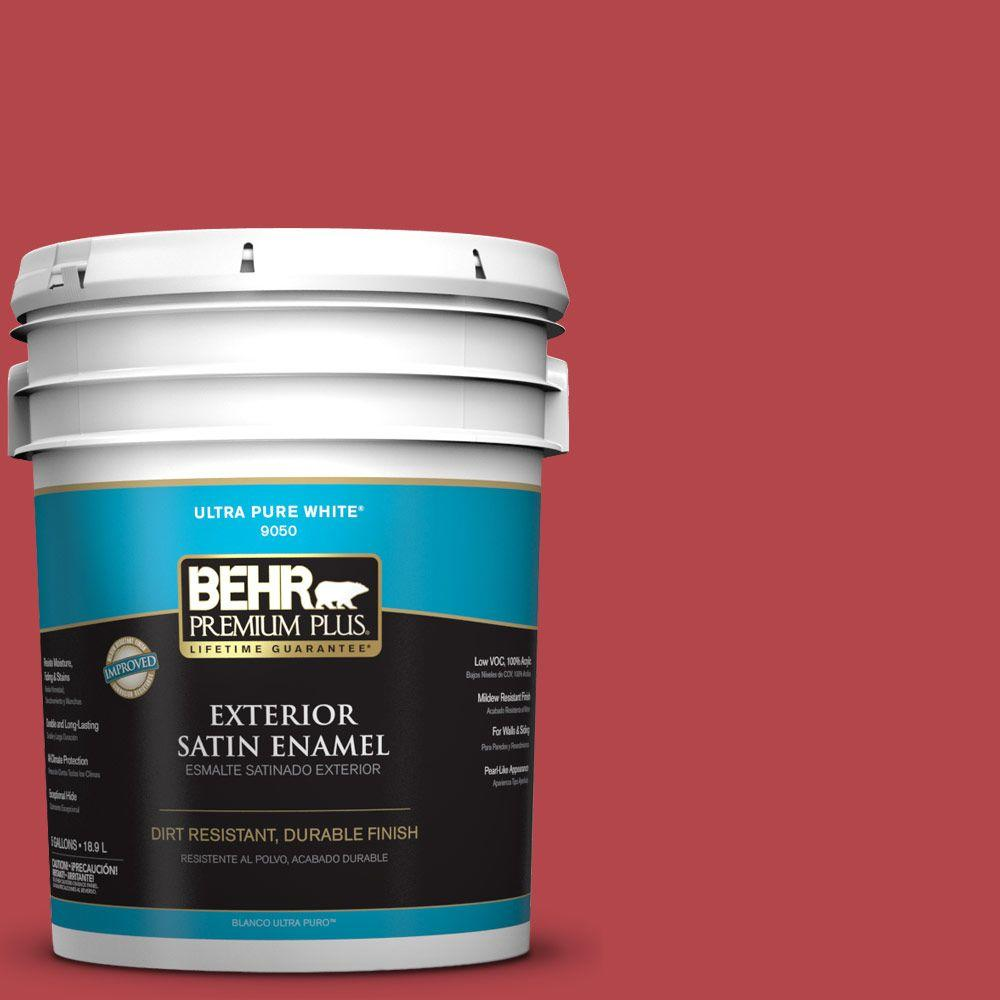 5-gal. #HDC-SM14-10 Intrigue Red Satin Enamel Exterior Paint