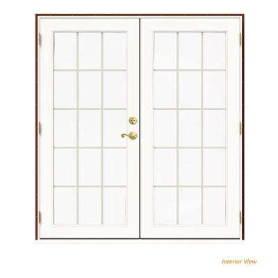 72 in. x 80 in. W-2500 Red Clad Wood Right-Hand 15 Lite French Patio Door w/White Paint Interior
