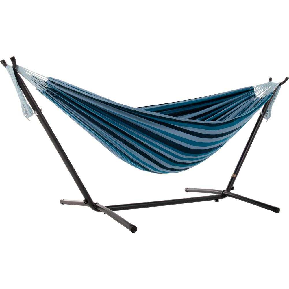 cfe3793060b Vivere 9 ft. Portable Cotton Hammock with Stand in Blue Lagoon ...
