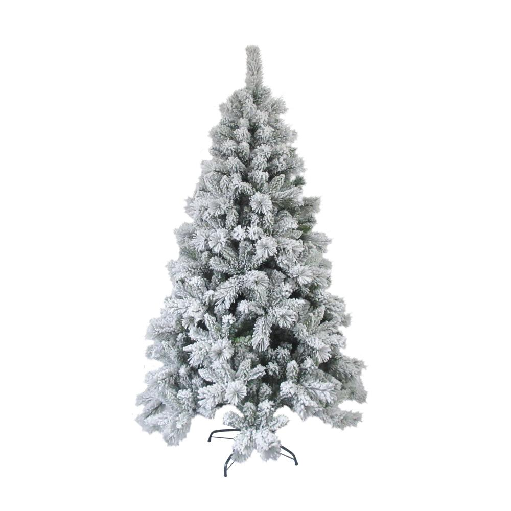 8 ft. Unlit Flocked Artificial Christmas Tree with Green Metal Stand