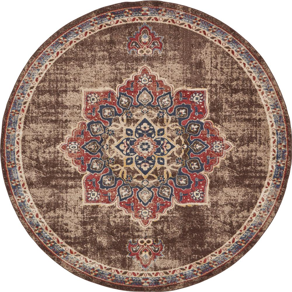 Arcadia Chocolate Brown 8 ft. x 8 ft. Round Area Rug