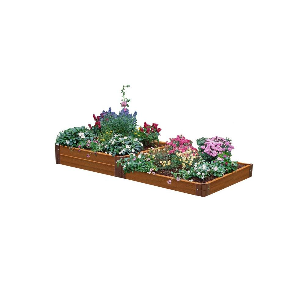 Frame It All Two Inch Series 4 ft. x 8 ft. x 11 in. Composite Terraced Multi-level Raised Garden Bed Kit