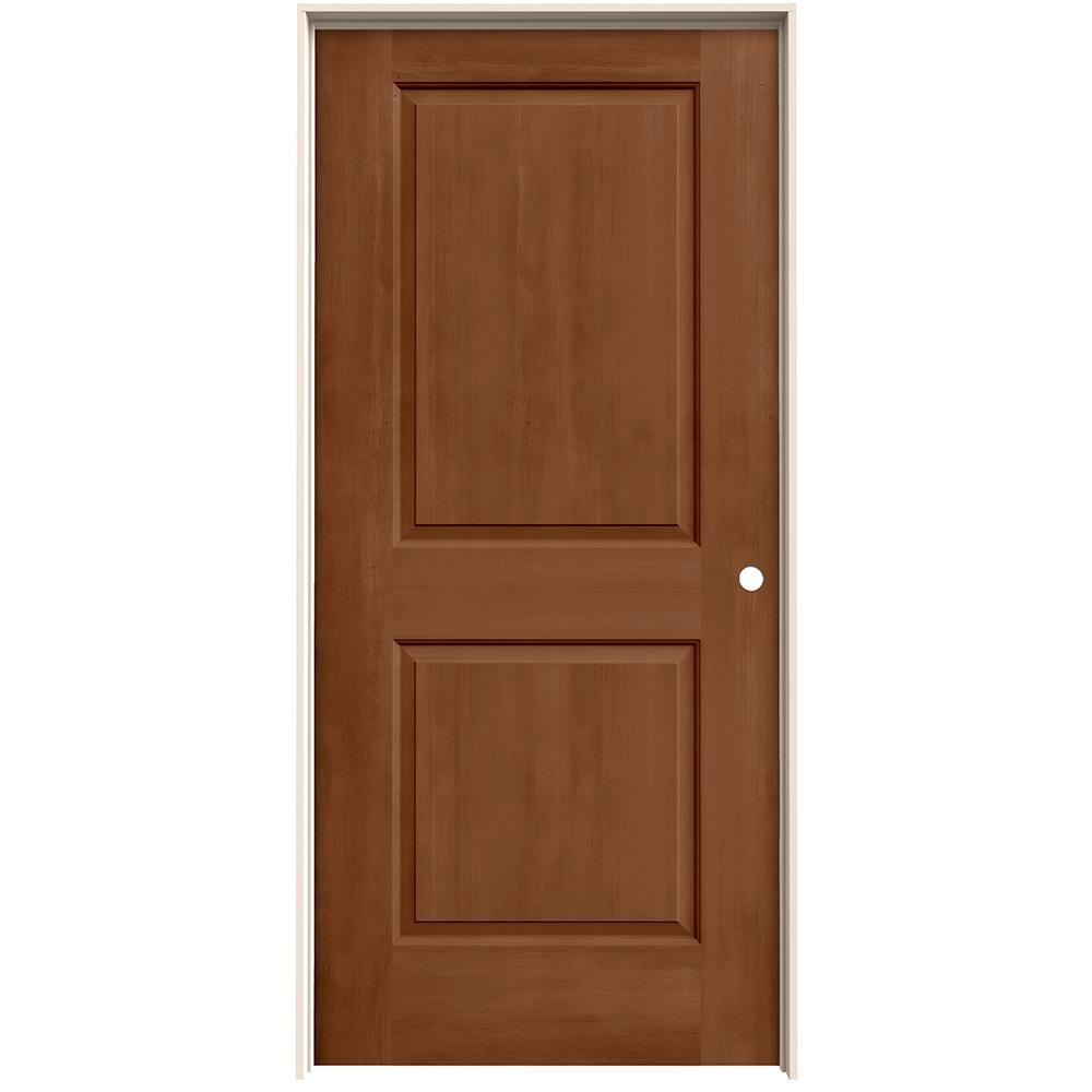 Jeld Wen 36 In X 80 In Cambridge Hazelnut Stain Left Hand Solid Core Molded Composite Mdf