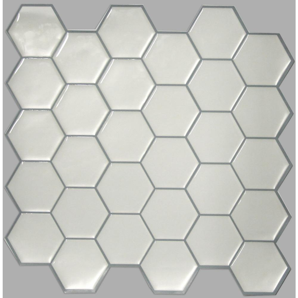 StickTiles 10.5 in. W x 10.5 in. H Pearl Hexagon Peel and Stick Decorative Tile Backsplash (4-Pack)