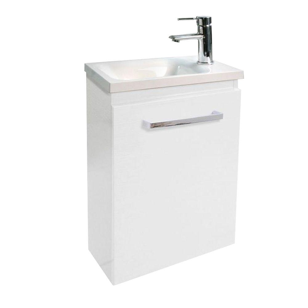 Architectural Designer Products Diana Collection Twin 400 20-1/4 in. Vanity in White with Poly-Marble Vanity Top in White-DISCONTINUED