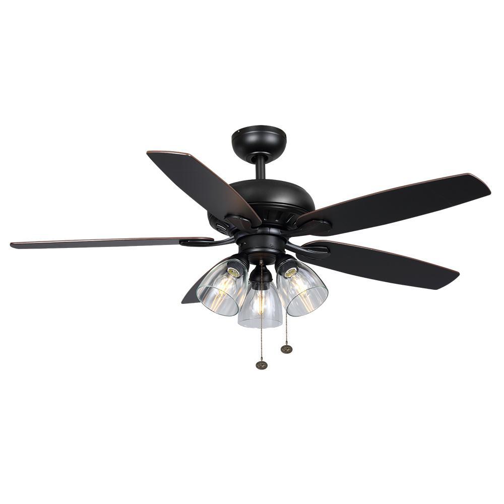 Hampton Bay Rockport 52 in. LED Matte Black Ceiling Fan
