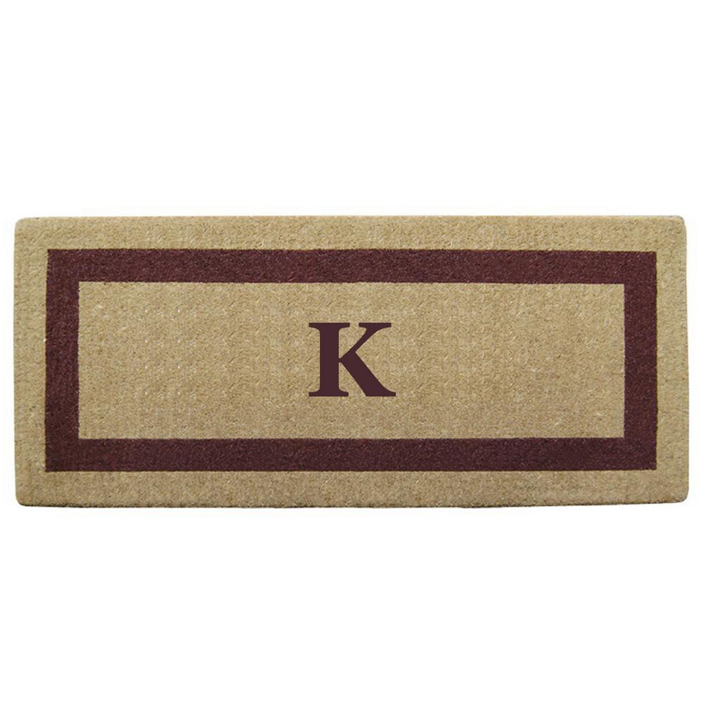 Single Picture Frame Brown 24 in. x 57 in. Heavy Duty Coir Monogrammed K Door Mat