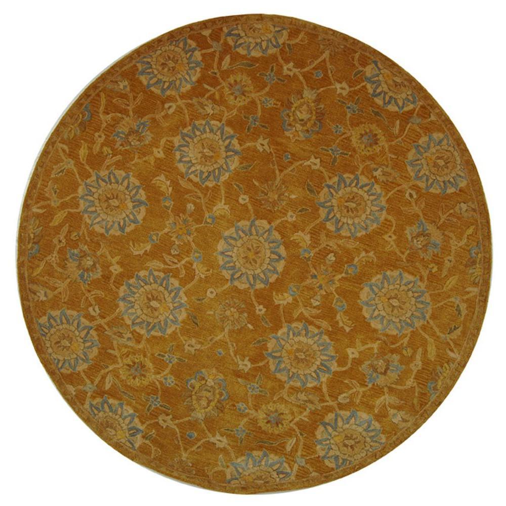 Anatolia Gold/Blue 4 ft. x 4 ft. Round Area Rug