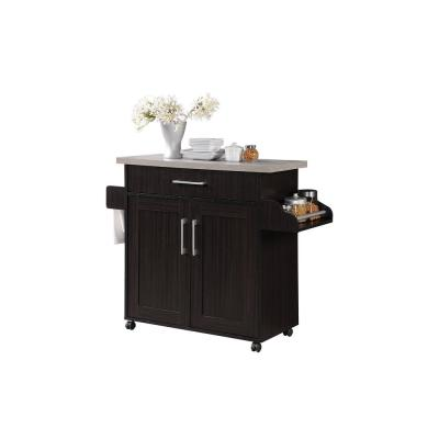 Chocolate-Grey Kitchen Island with Spice Rack and Towel Holder