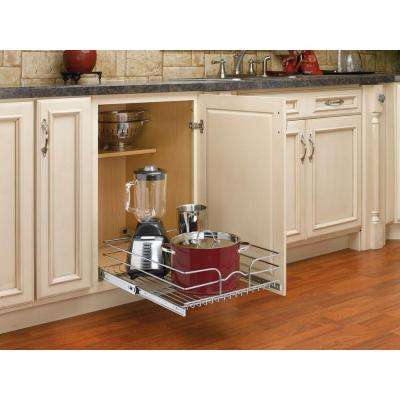 7 in. H x 17.75 in. W x 22 in. D Base Cabinet Pull-Out Chrome Wire Basket