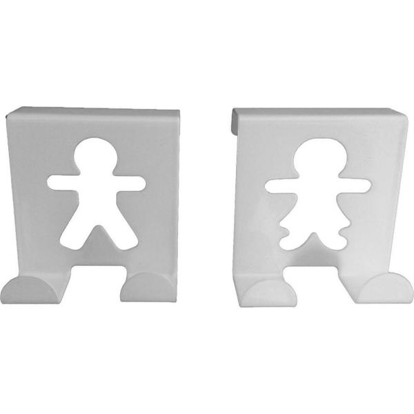White Metal Over Cabinet Door Hooks, Fellow Couple up to 3/4 in. (Set of 2) 2 lbs