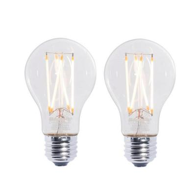 Bulbrite 60W Equivalent Warm White Light A19 Dimmable LED Filament Light Bulb (2-Pack)