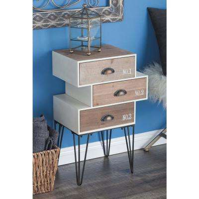 Rustic Wood And Metal Chest Multi Colored Trunk With Skewed Drawers