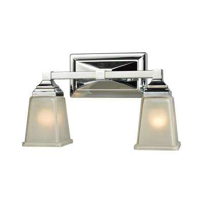 Sinclair 2-Light Polished Chrome With Frosted Glass Bath Light