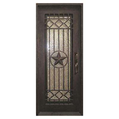 40 in. x 98 in. Texas Star Classic Full Lite Painted Oil Rubbed Bronze Hammered Wrought Iron Prehung Front Door