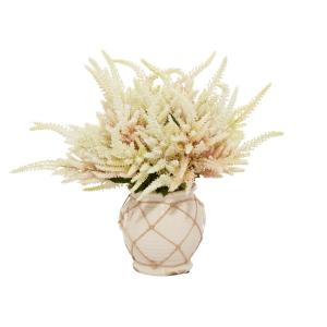 22 in. L x 20 in. H White and Pink Astilbe in a Cream Container with Rope
