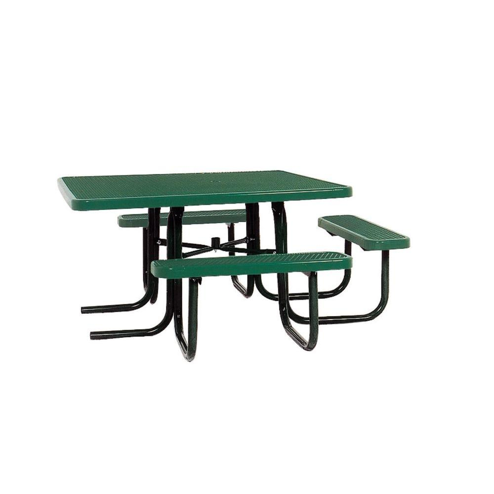 Ultra Play 46 in. x 55 in. Diamond Green Commercial Park Surface Mount and Portable ADA Square Table
