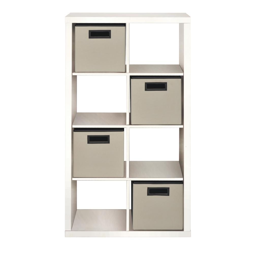 26.42 in. x 50.51 in. White 8-Cube Organizer with 4-Fabric Bins