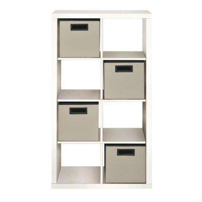 26.42 in. x 50.51 in. 8-Cube Organizer with 4 Fabric Bins in White