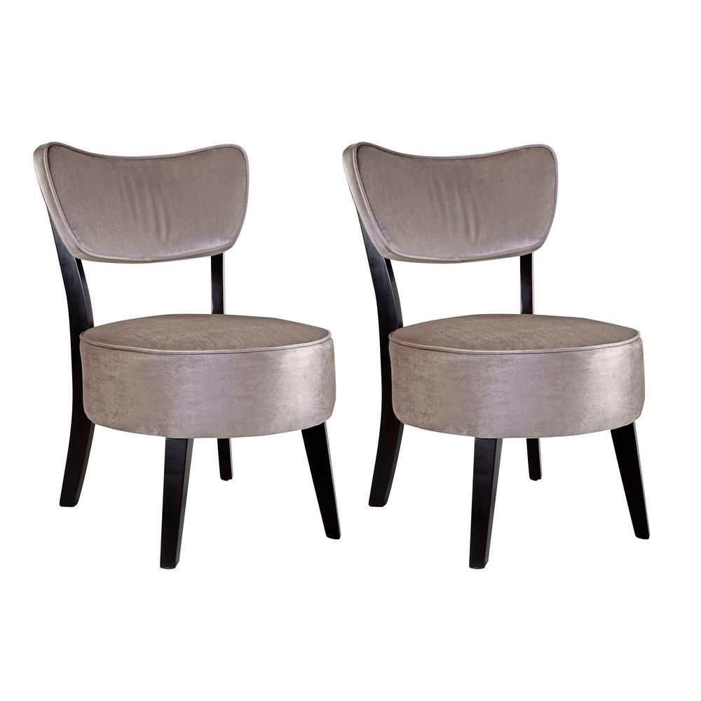 Antonio Soft Grey Velvet Accent Chair (Set of 2)