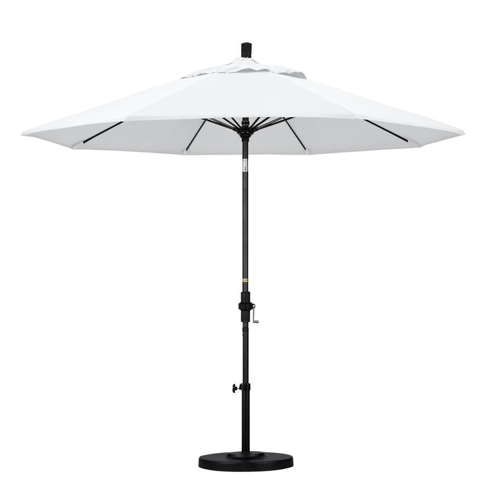 California Umbrella 9 ft. Matted Black Aluminum Market Patio Umbrella with Fiberglass Ribs Collar Tilt Crank Lift in Natural Sunbrella