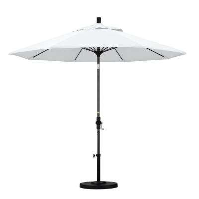 9 ft. Matted Black Aluminum Market Patio Umbrella with Fiberglass Ribs Collar Tilt Crank Lift in Natural Sunbrella