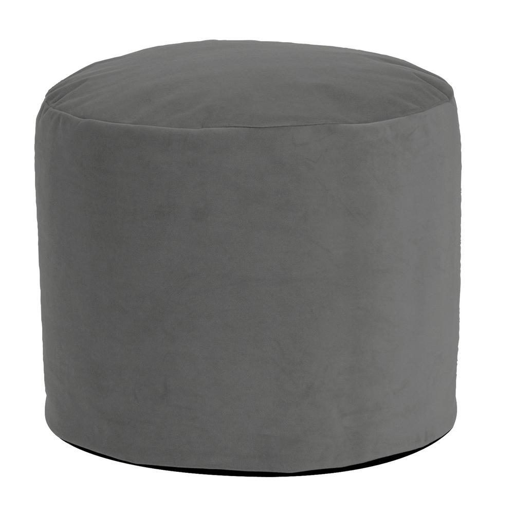 Round Pouf Bella Velvet Pewter Gray