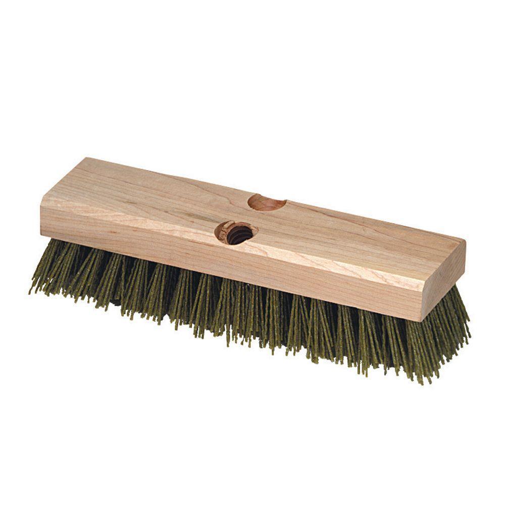 Carlisle 10 inch Silicone Carbide Bristles Wood Block Deck Scrub Brush (12-Pack) by Carlisle