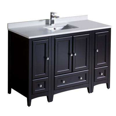 Oxford 48 in. Bath Vanity in Espresso with Quartz Stone Vanity Top in White with White Basin