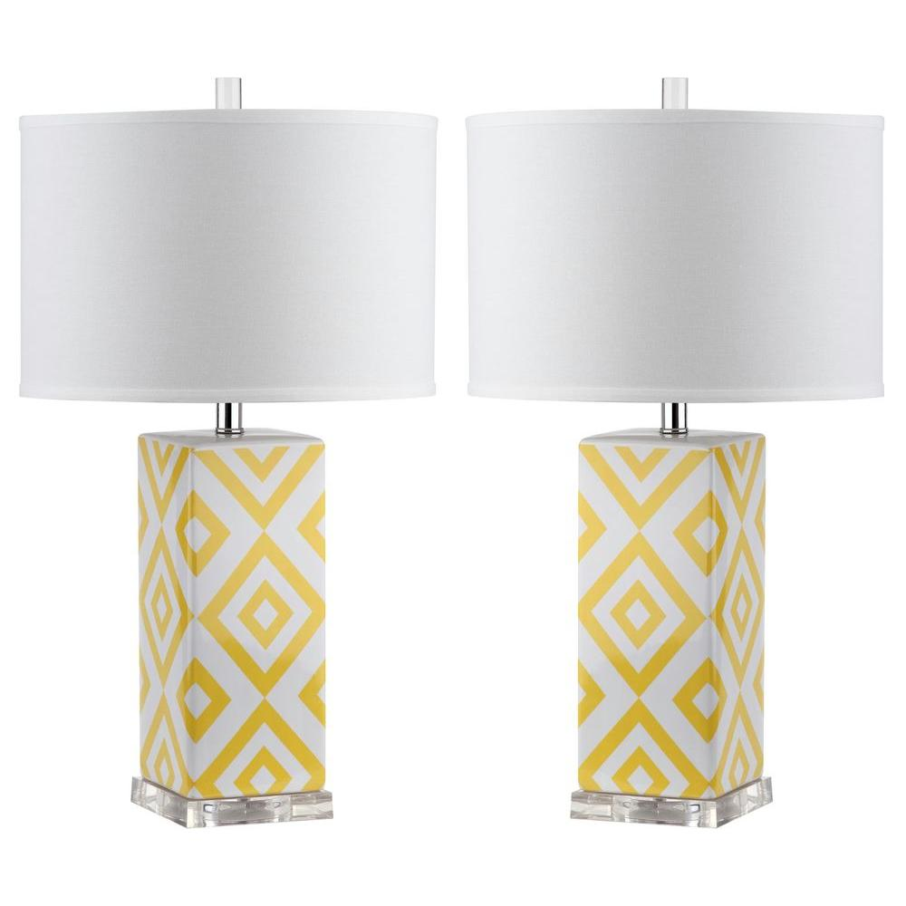 Yellow table lamp set of 2