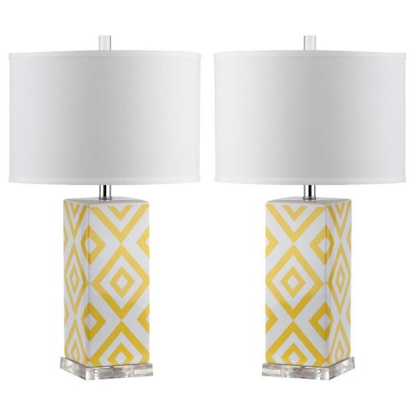 Diamonds 27 in. Yellow Diamond Ceramic Table Lamp with White Shade (Set of 2)