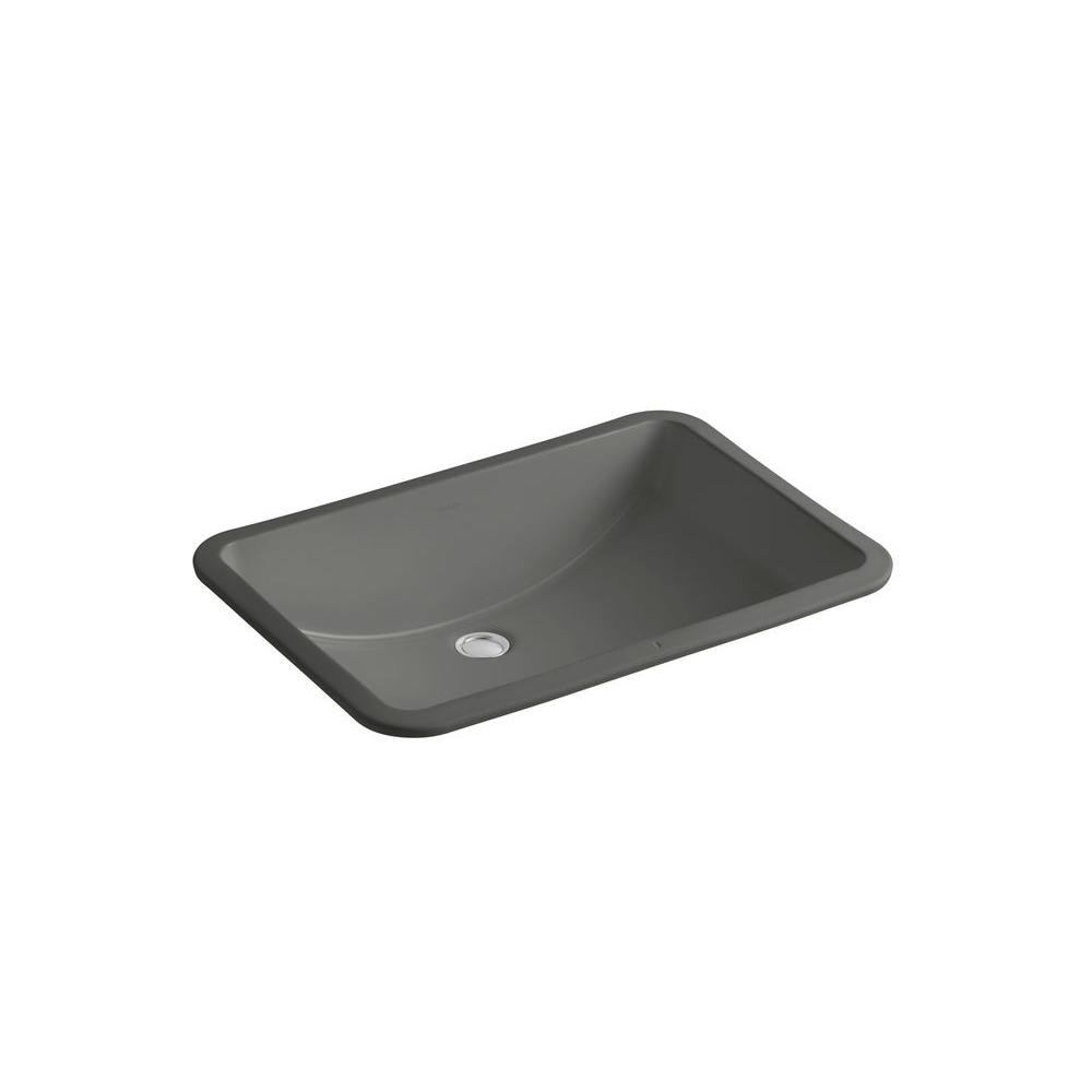 "KOHLER Ladena 23 1/4"" Undermount Bathroom Sink in Thunder Grey with Overflow Drain"