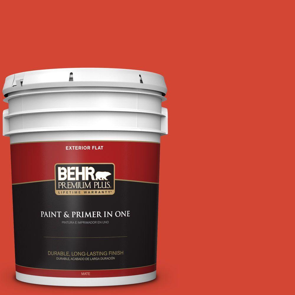 BEHR Premium Plus 5-gal. #S-G-190 Red Hot Flat Exterior Paint