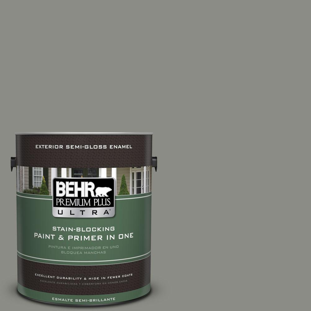 BEHR Premium Plus Ultra 1-gal. #N380-5 Naturalist Gray Semi-Gloss Enamel Exterior Paint