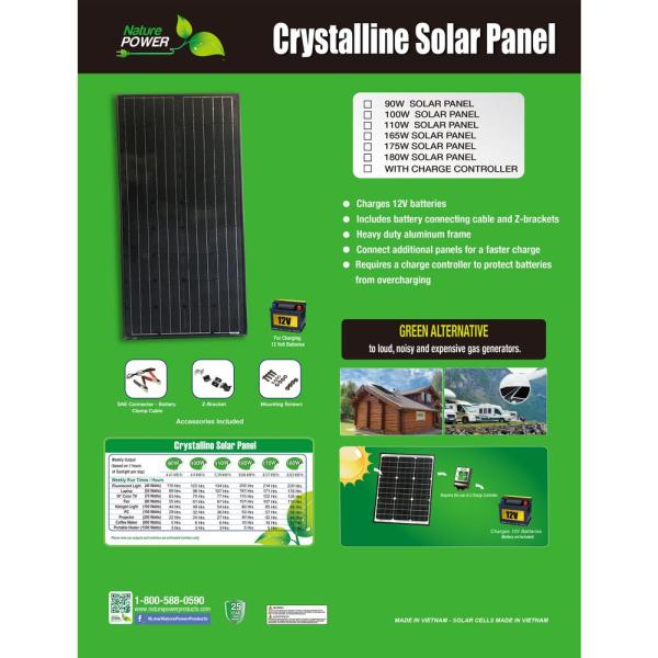 Nature Power 180 Watt Monocrystalline Solar Panel With Charge Controller 53180 The Home Depot