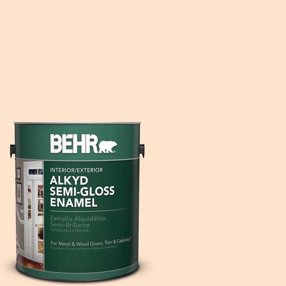 1 gal. #300C-2 Sand Dollar White Semi-Gloss Enamel Alkyd Interior/Exterior Paint