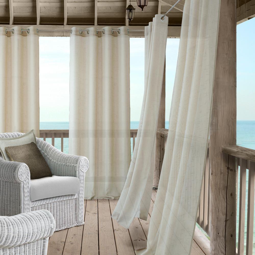 Elrene Bali Sheer Indoor Outdoor Window Curtain With Tieback