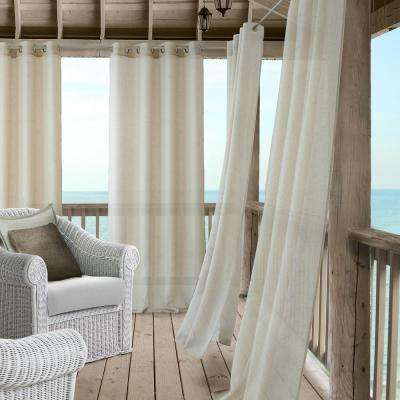 Bali Sheer 52 in. W x 95 in. L Polyester Indoor/Outdoor Single Window Curtain Panel in Natural