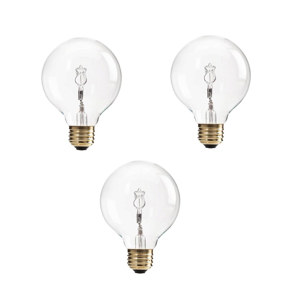 Philips 40-Watt G25 Halogen Clear Decorative Globe Light Bulb (3-Pack)