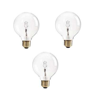 60-Watt Equivalent G25 Halogen Clear Decorative Globe Light Bulb (3-Pack)