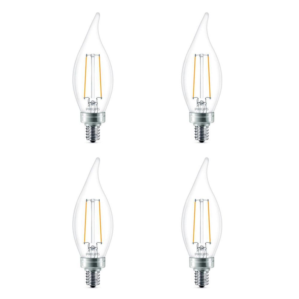 Led Light Bulb Candelabra Base: Philips 25-Watt Equivalent B11 Dimmable Edison Glass LED