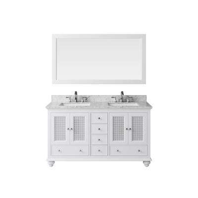 60 in. Vanity in White with Marble Vanity Top in Carrara White with White Basin and Mirror