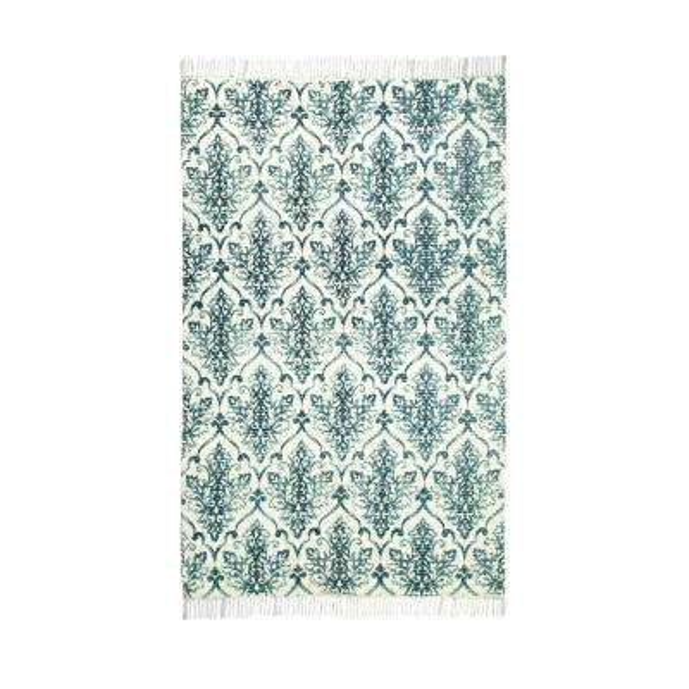 Ornate Pattern Vintage Hand-Woven Teal 5 ft. x 7 ft. Area Rug