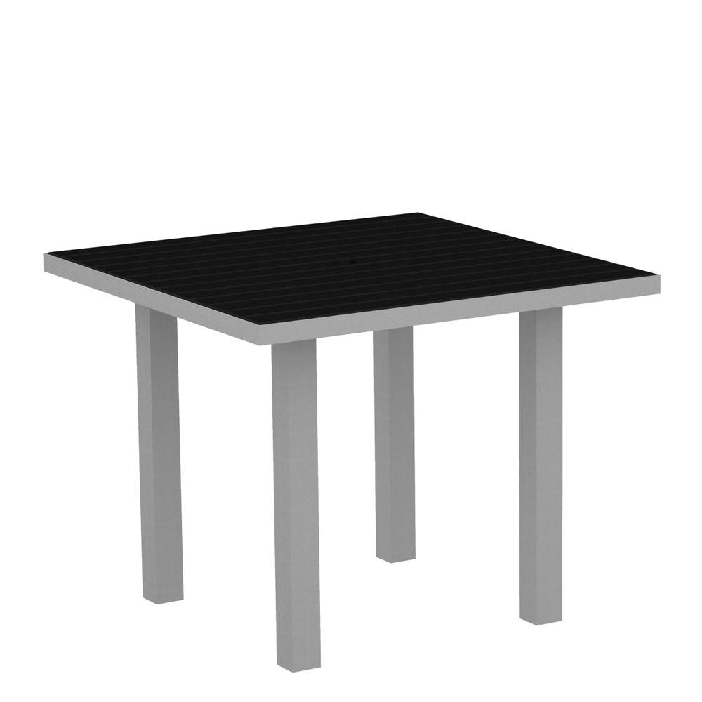 Euro Textured 36 in. Silver Square Patio Dining Table with Black